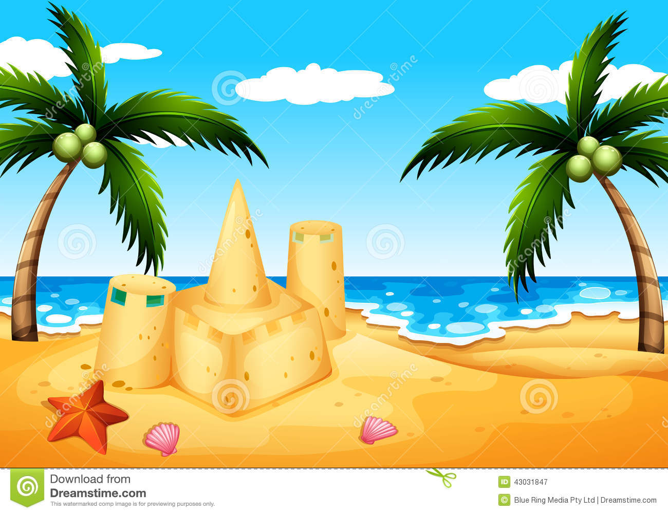 Beach Coconut Trees Sand Castle