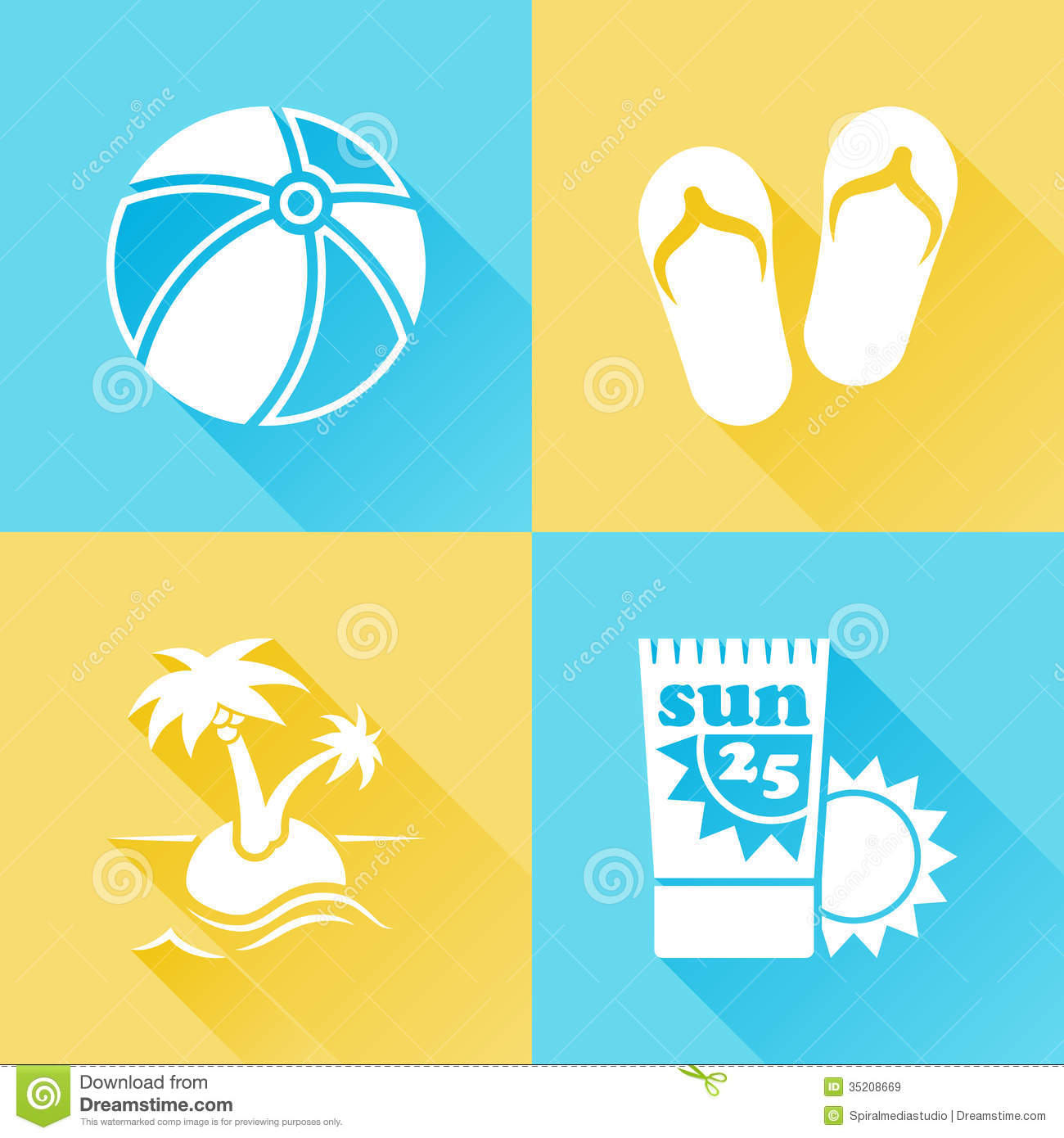Beach Colorful Flat Icons Royalty Free Stock Images ... - photo#49
