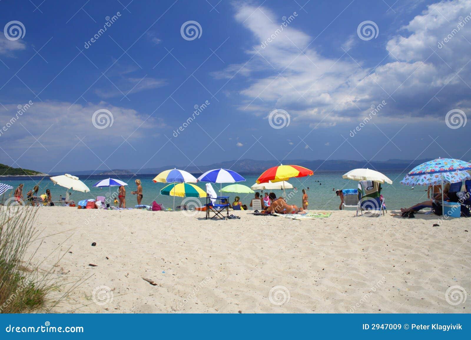 Beach Umbrella Relaxing Summer Vacation Stock Photo