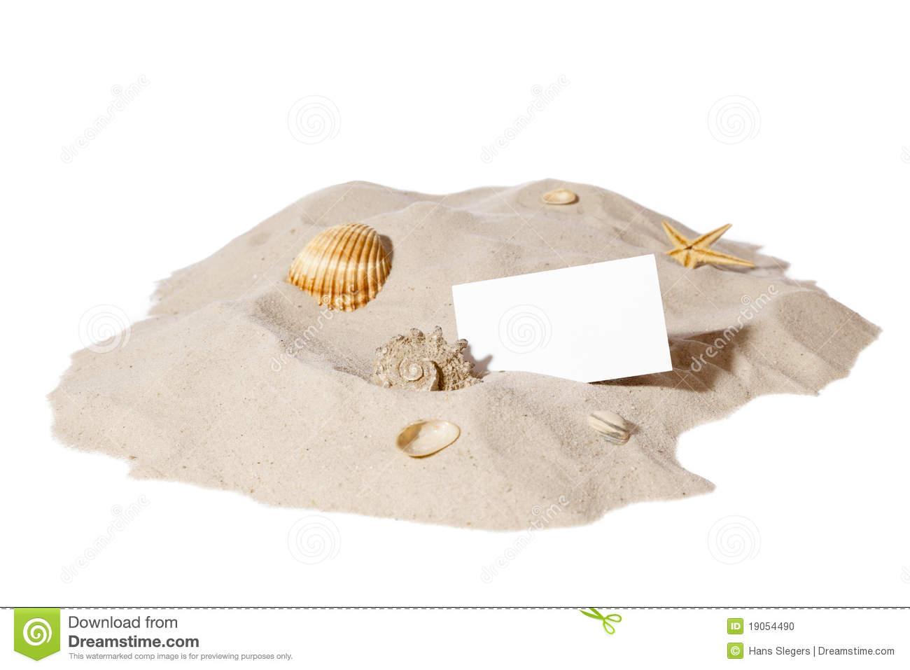 Beach Concept With Pile Of Sand And A Blank Card Stock ...