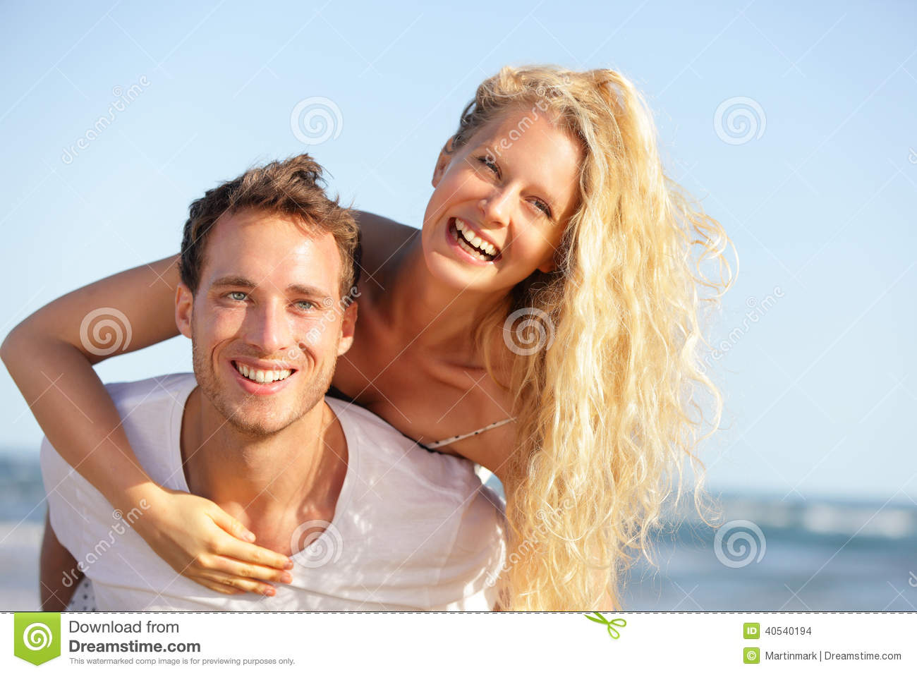 Stock Images Beach Couple Fun Lovers Romantic Travel Doing Piggyback L...
