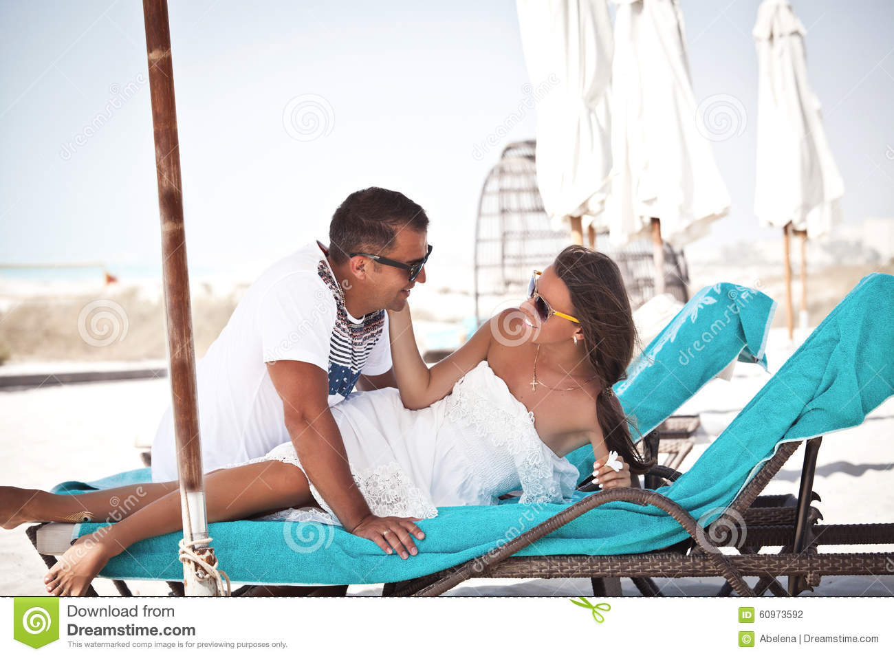 Beach couple in love having vacation summer stock photo for Tropical vacations for couples
