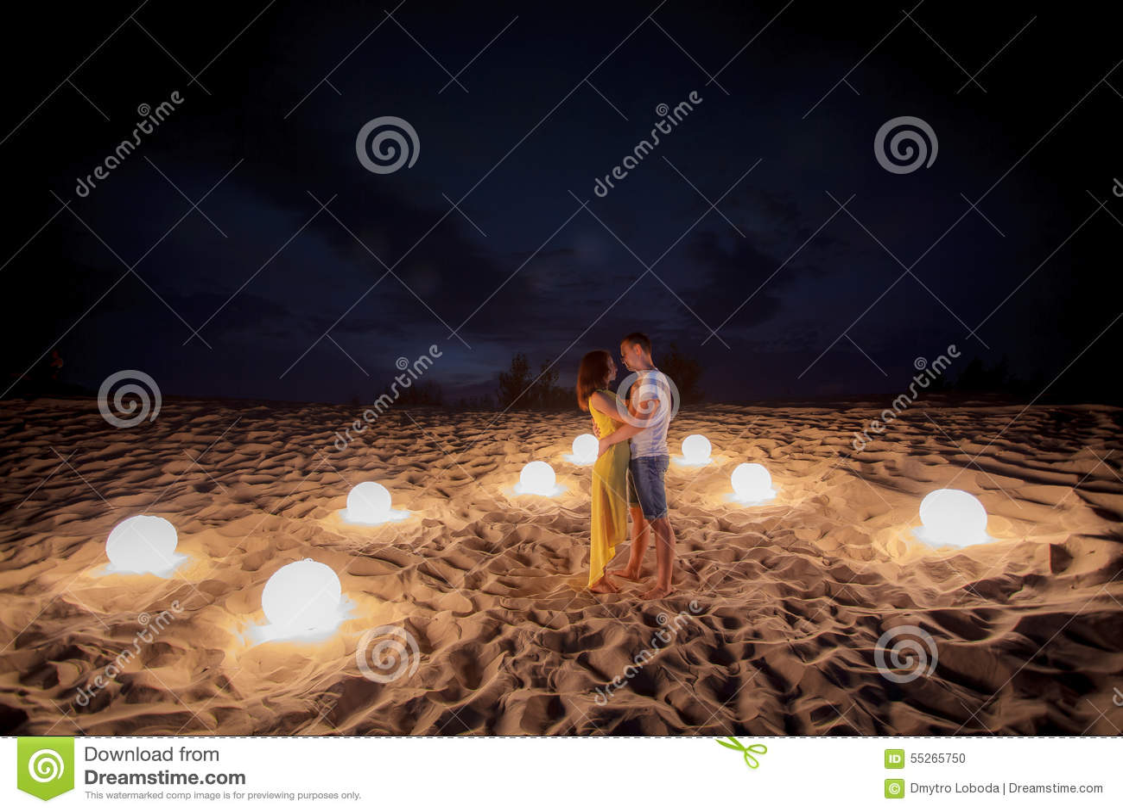 Beach, Couple, Romantic, Candles Stock Photo