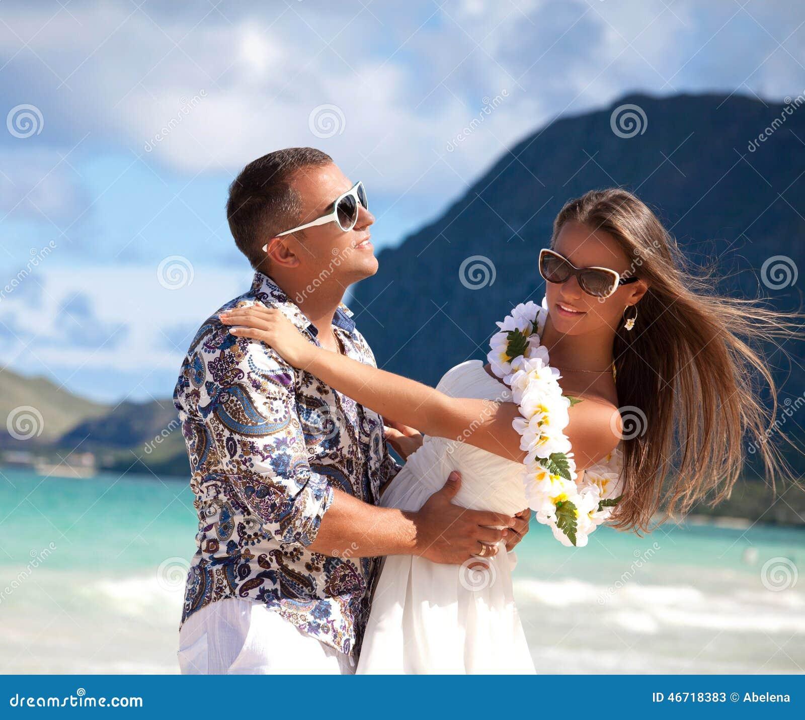 Couple Enjoying Their Summer Holidays Stock Photo: Beach Couple Travel. Stock Image. Image Of Enjoy, Ocean