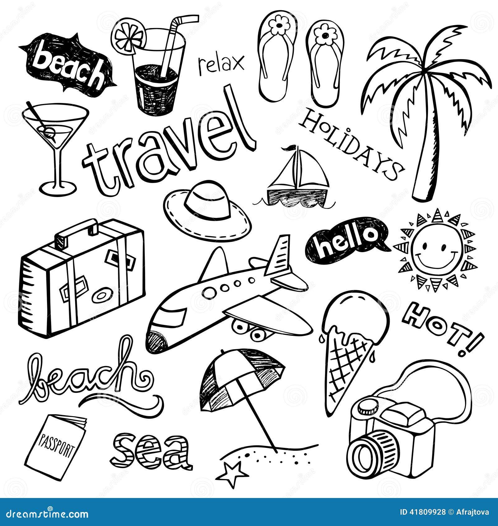 Beach Doodles Stock Vector. Illustration Of Flops, Flight