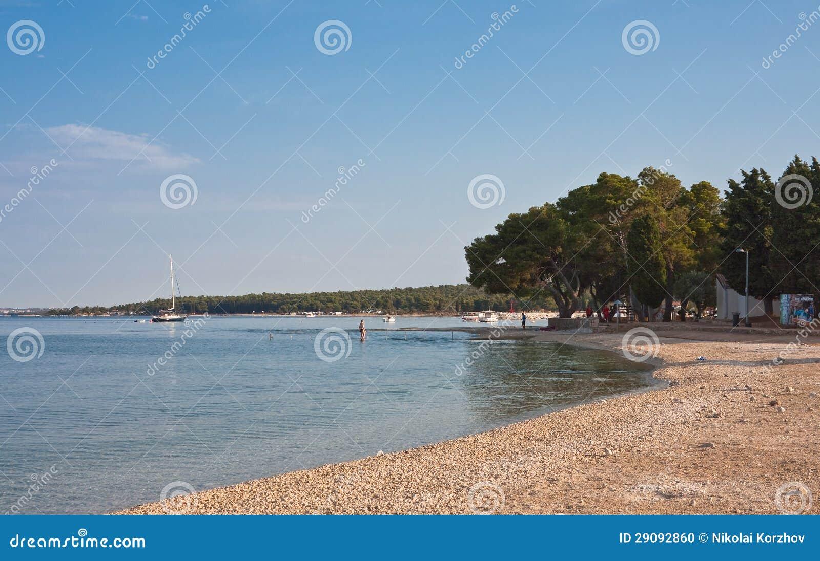 Beach in the early morning. Istria, Croatia
