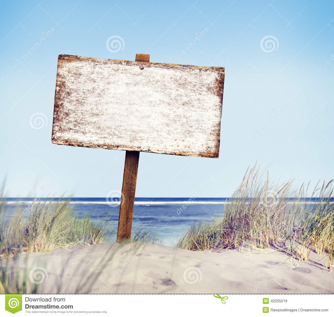 Download Beach With Empty Plank Sign Stock Image - Image of nature, beach: 42255519
