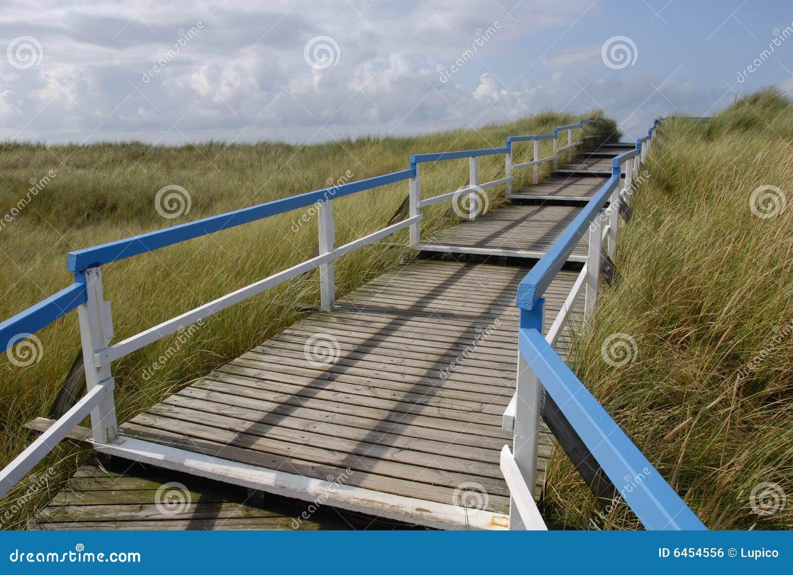 Beach entrance via wooden walkway