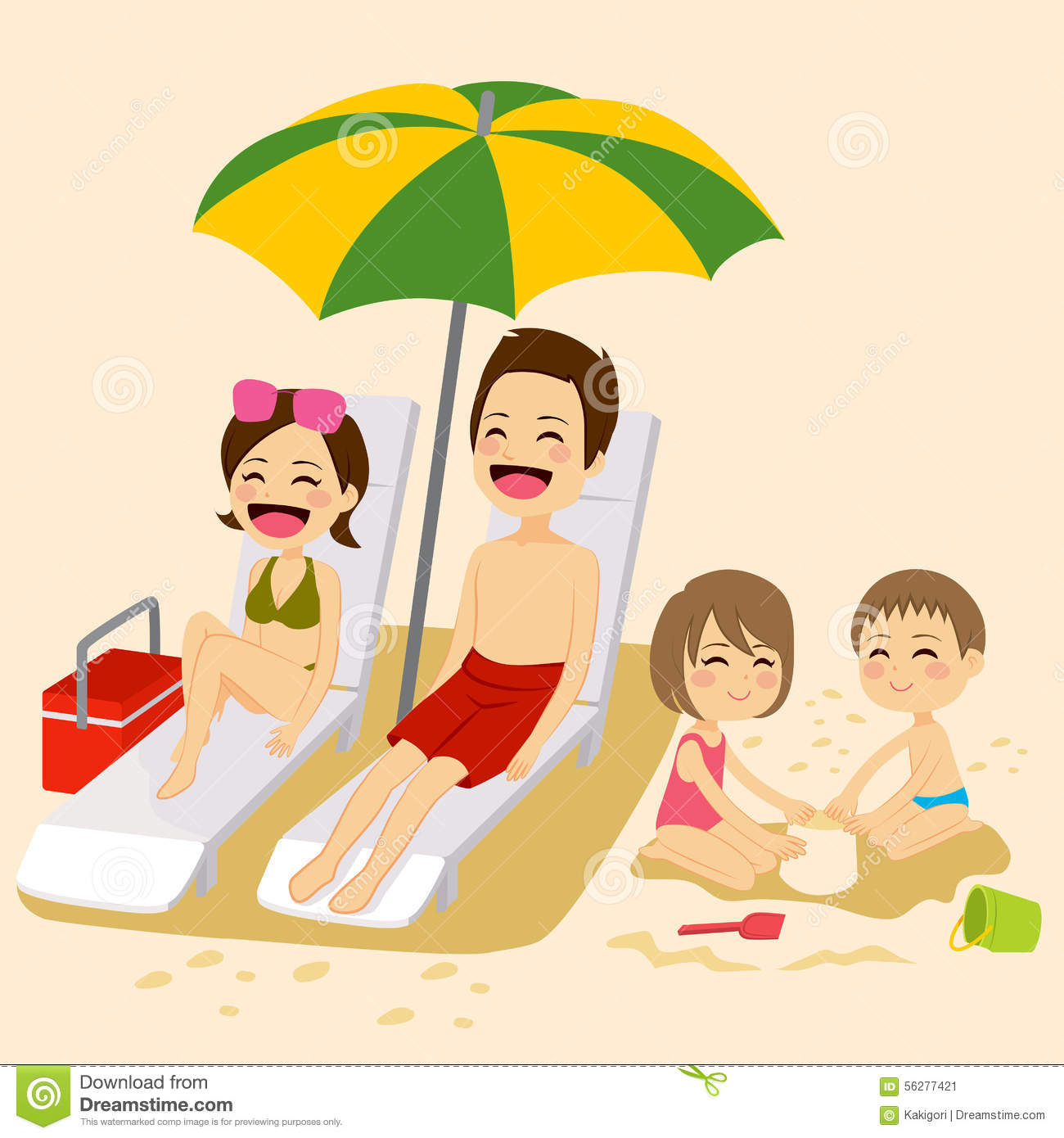 Beach Family Sunbathing stock vector. Image of people ...