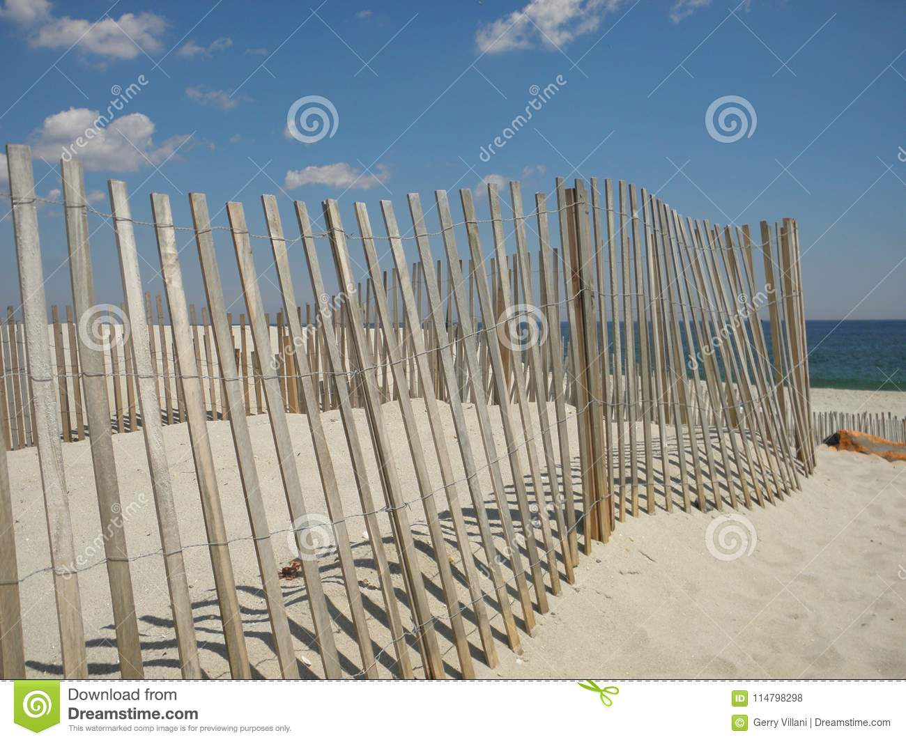 Download Beach Fence On New Jersey Shore Stock Photo - Image of sand, fence: 114798298