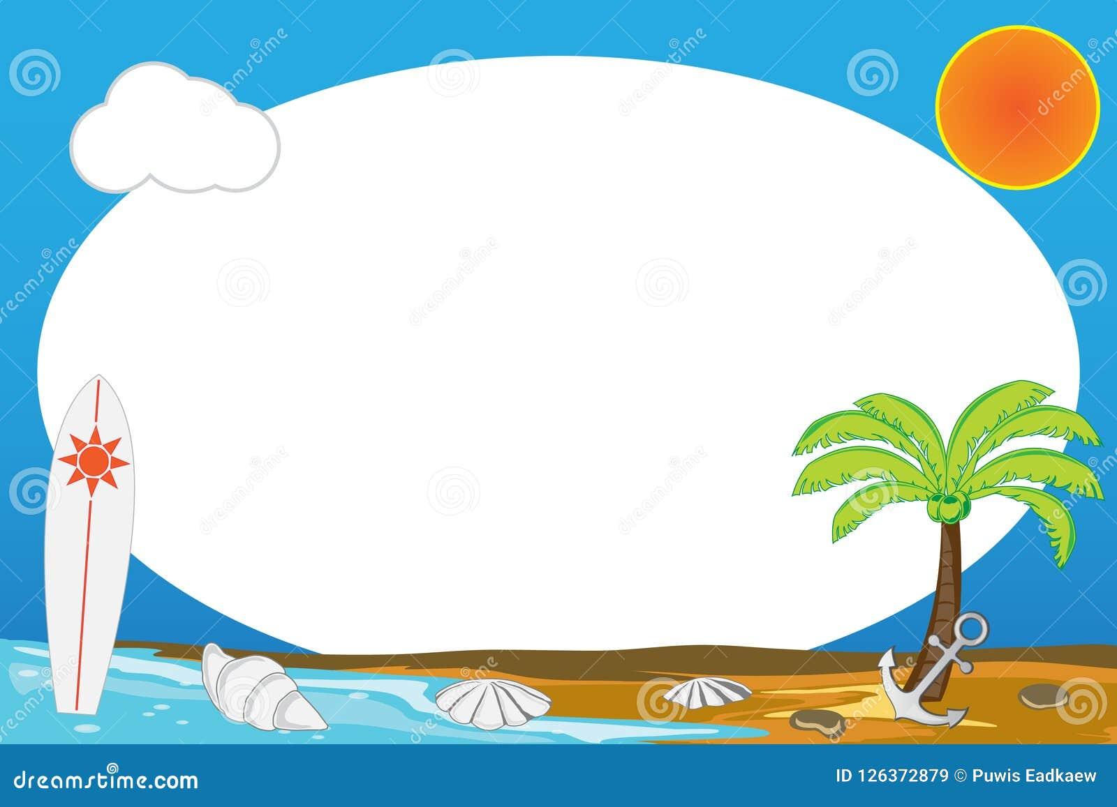 Beach Frames In Summer Season Stock Illustration - Illustration of ...