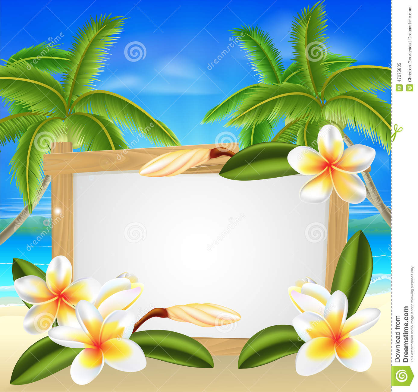 ... flower beach palm tree summer tropical holiday background sign