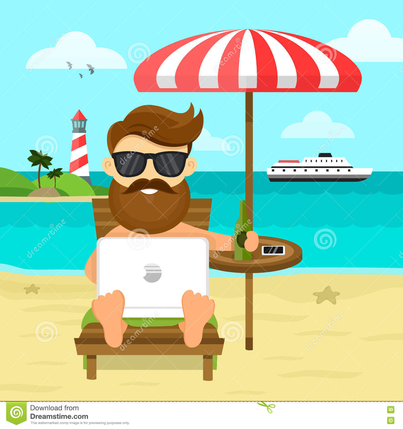 On the beach freelance Work & Rest flat illustration. Business Man Freelance Remote Working Place Businessman In