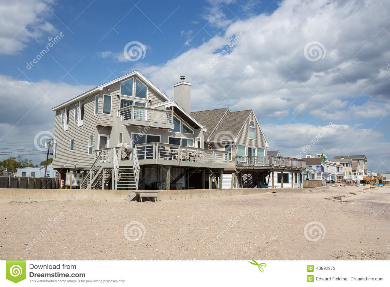 Beach Front Homes In Old Saybrook Connecticut Stock Image