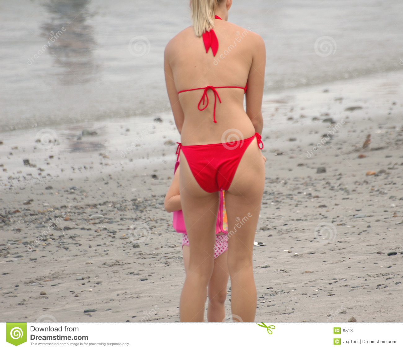 Beach girl in red