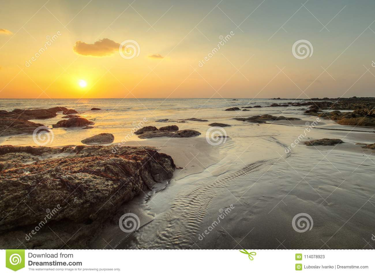 Beach in golden sunset light during low tide showing stream of w