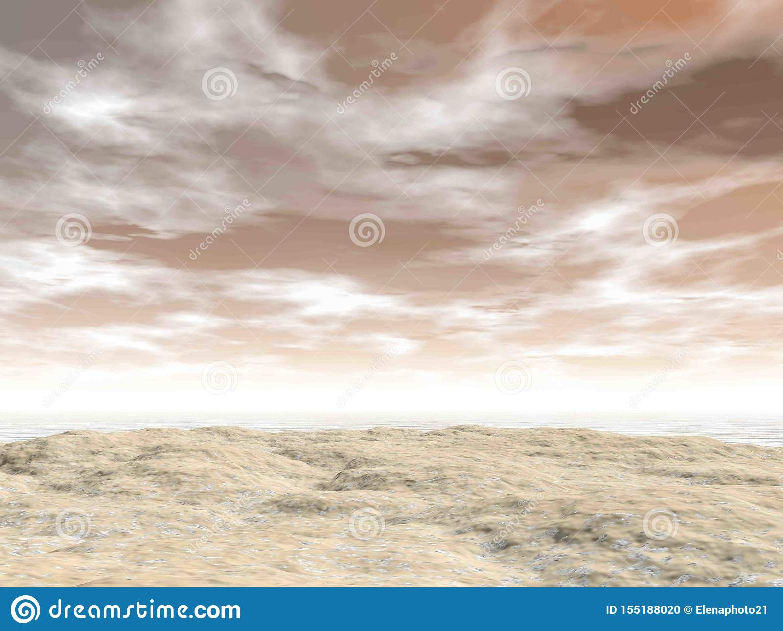 Beach ground by cloudy sunset background - 3D render
