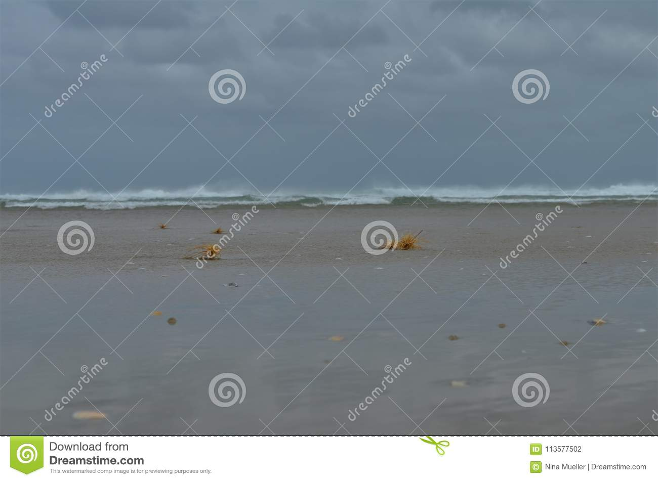 Beach from ground perspective during stormy weather and rough sea