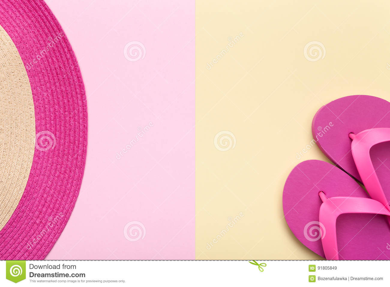 Beach Hat and Flip Flops on Pastel Background
