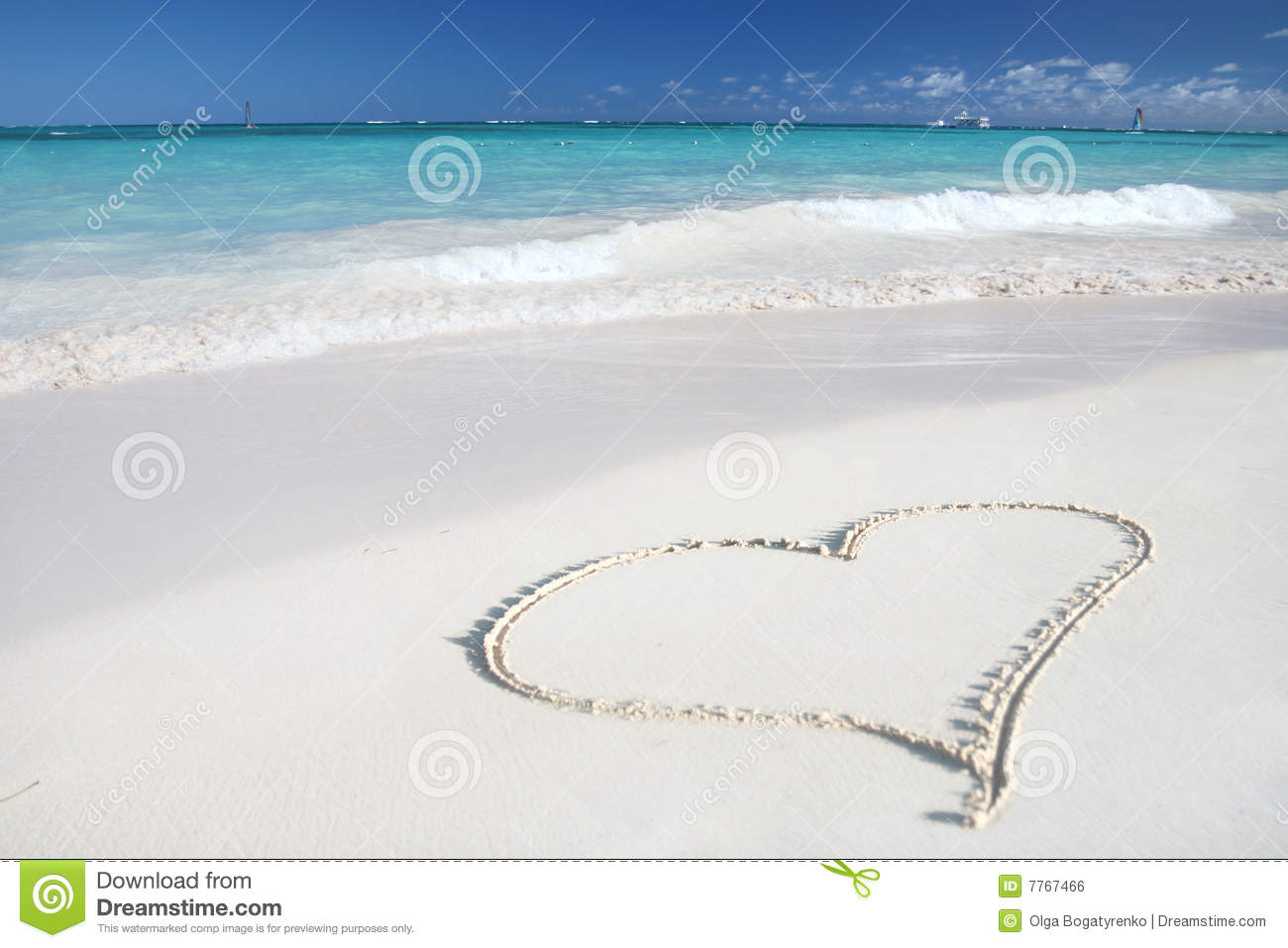 Beach heart love ocean sand tropical