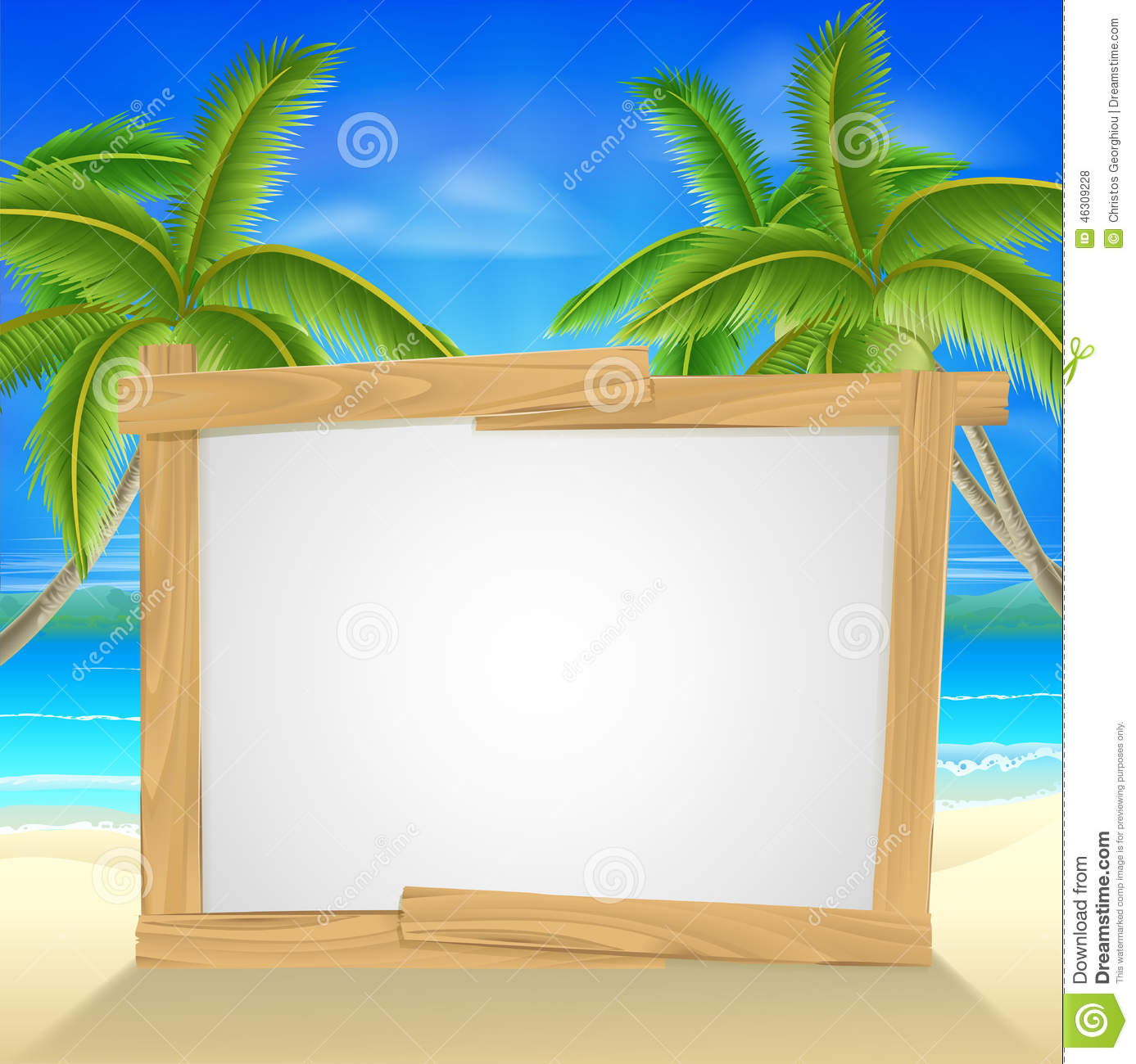 Beach Holiday Palm Tree Sign Stock Vector - Image: 46309228