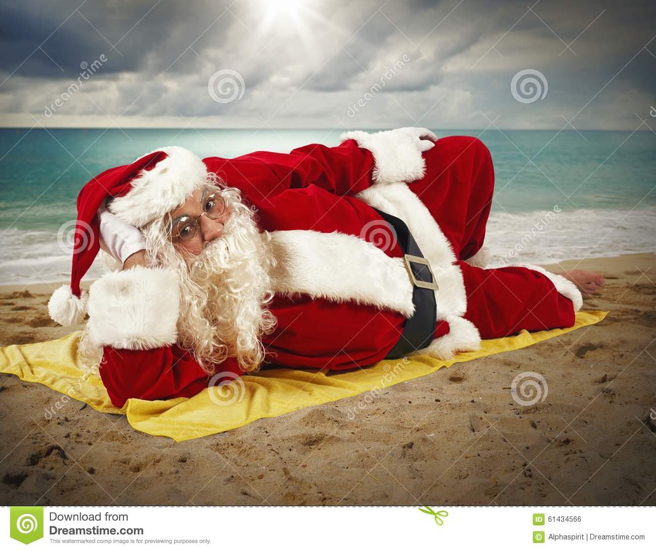 beach holiday of santa claus stock photo image 61434566. Black Bedroom Furniture Sets. Home Design Ideas