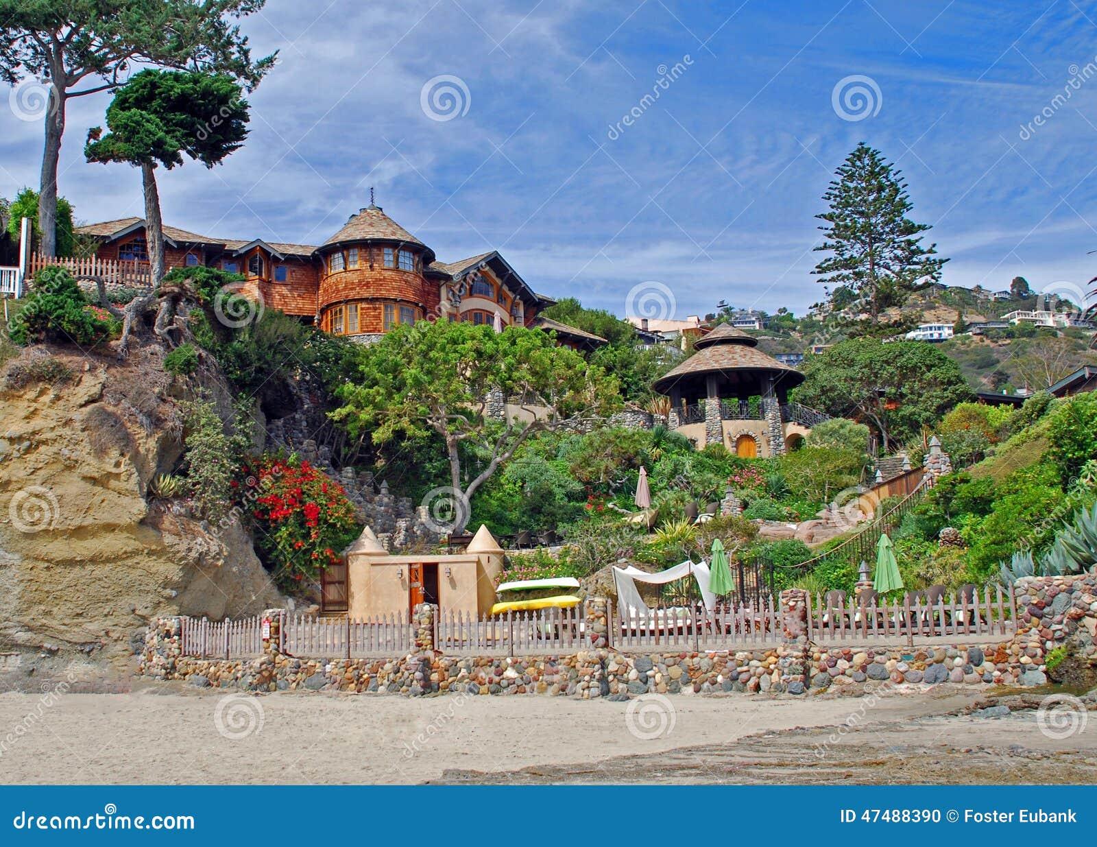 Hillside Home Plans Beach Home At Victoria Beach Laguna Beach Ca Stock