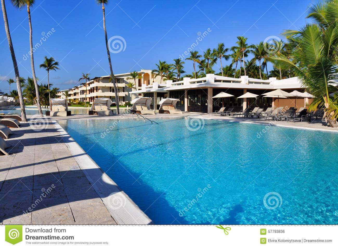 Beach hotel resort swimming pool stock photo image of fountain cloud 57793836 - Palm beach swimming pool ...