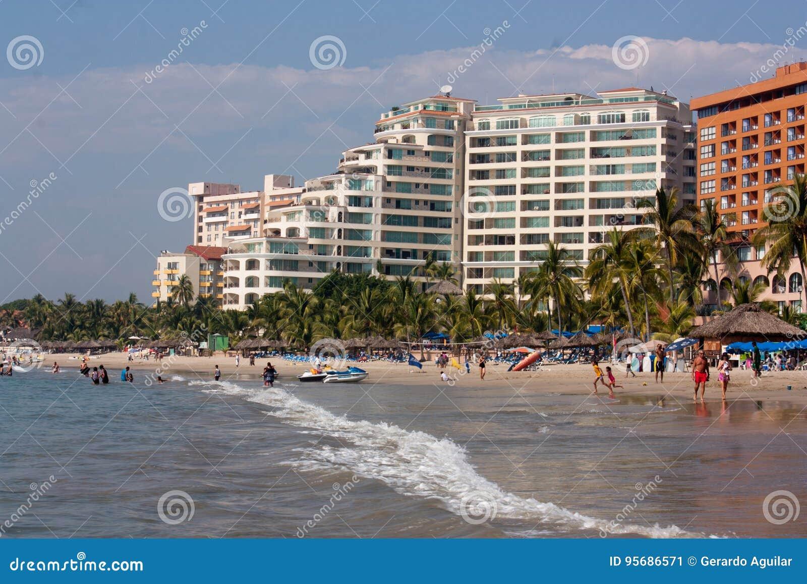 Beach and hotels in Ixtapa bay