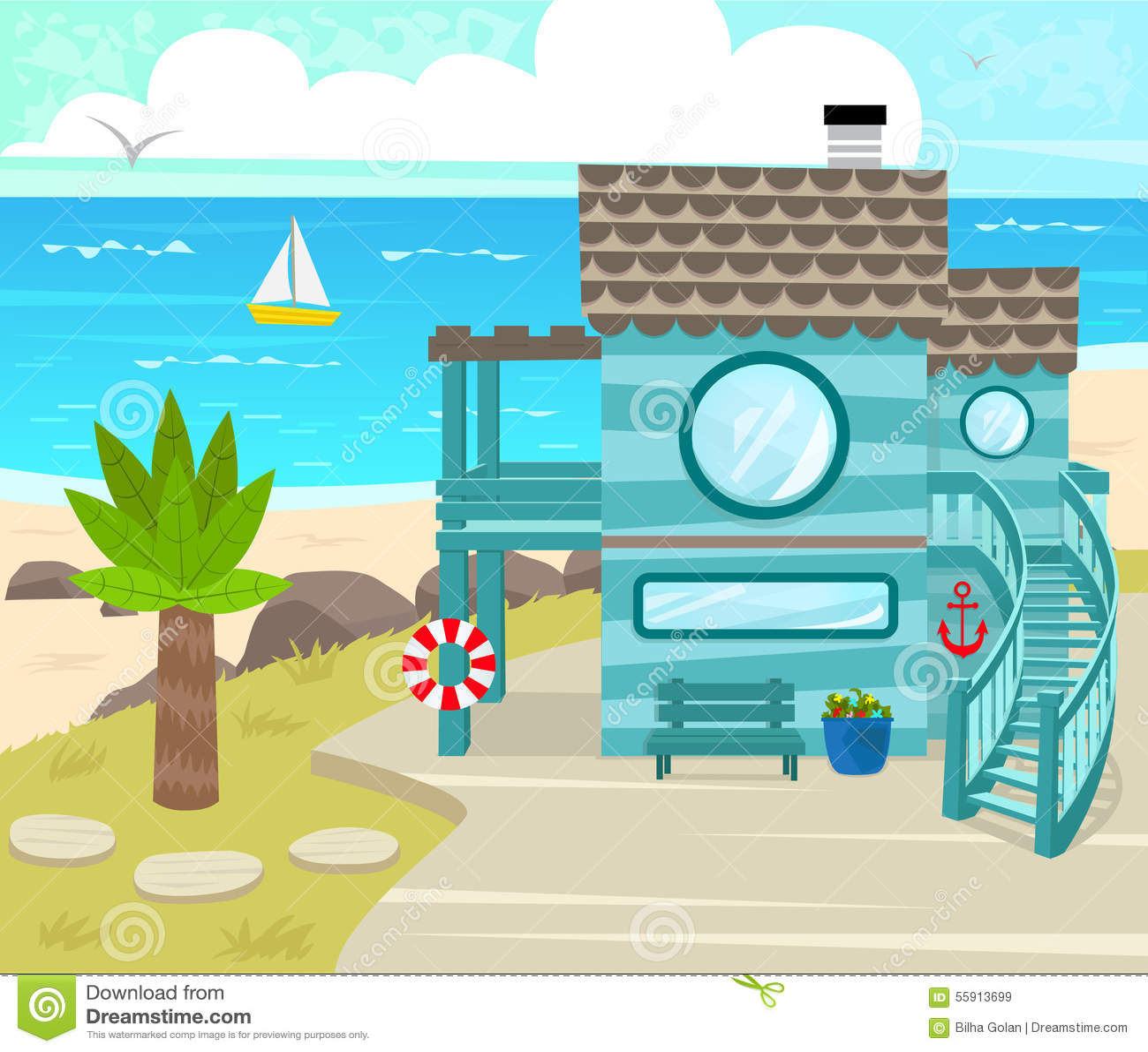 Beach House Stock Vector Image 55913699