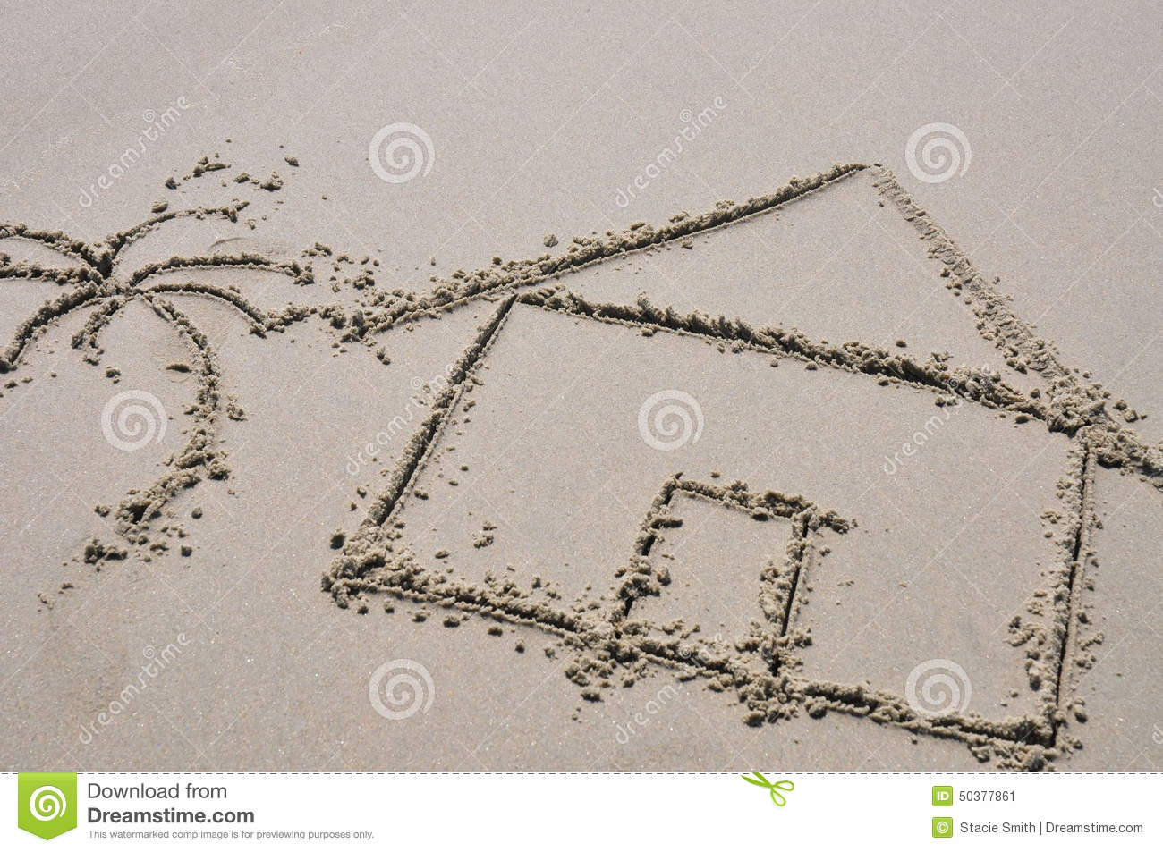 Beach House Concept Drawn In The Sand Stock Photo Image 50377861