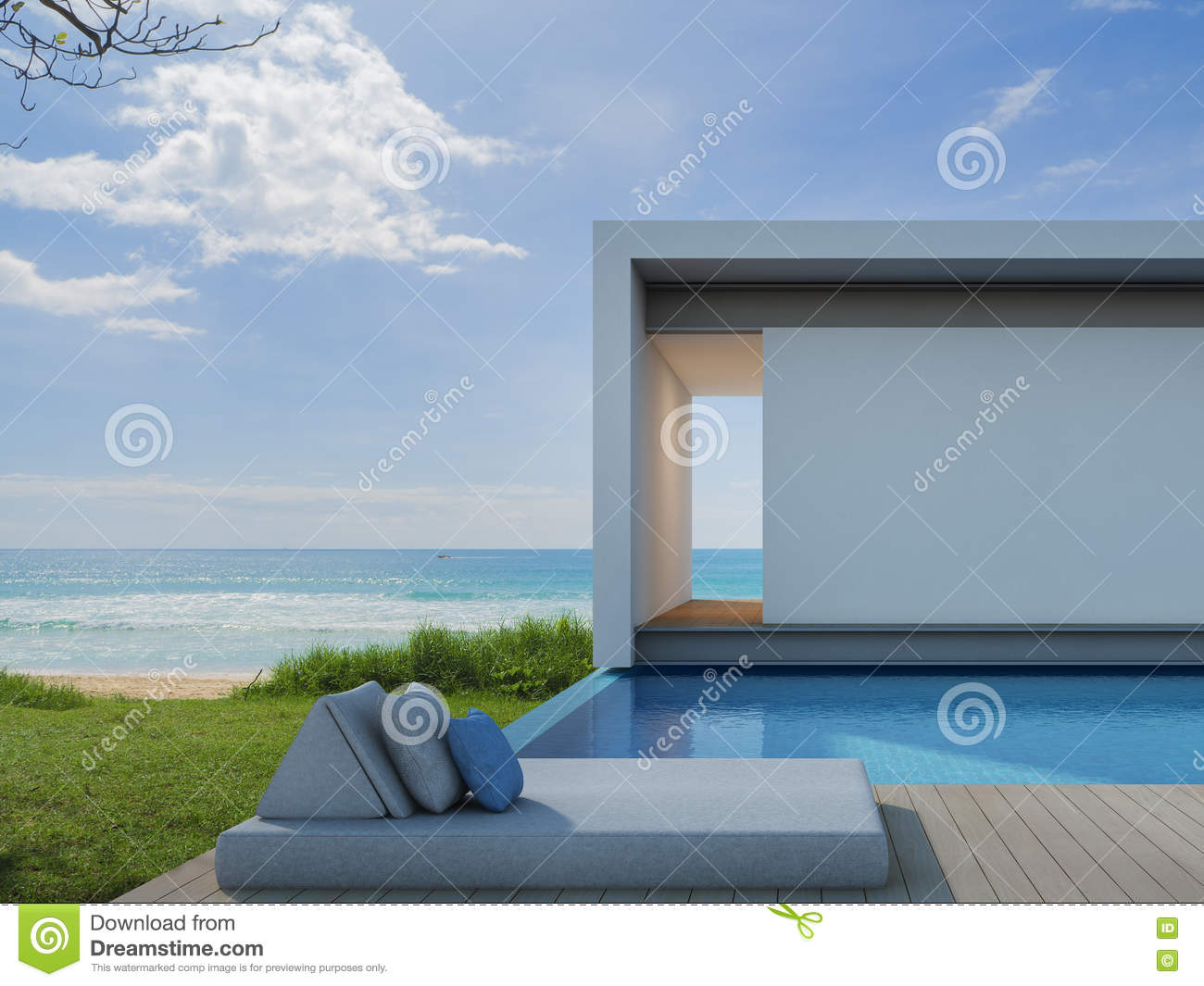 Beach house in modern design luxury sea view pool villa for Pool villa design