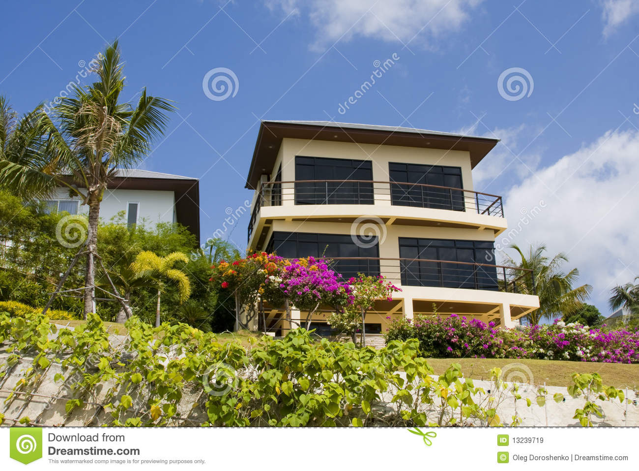Large tropical beach house in thailand stock image for Large beach house