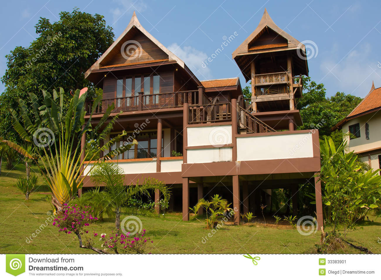 Tropical Island Beach House: Beach House Stock Image