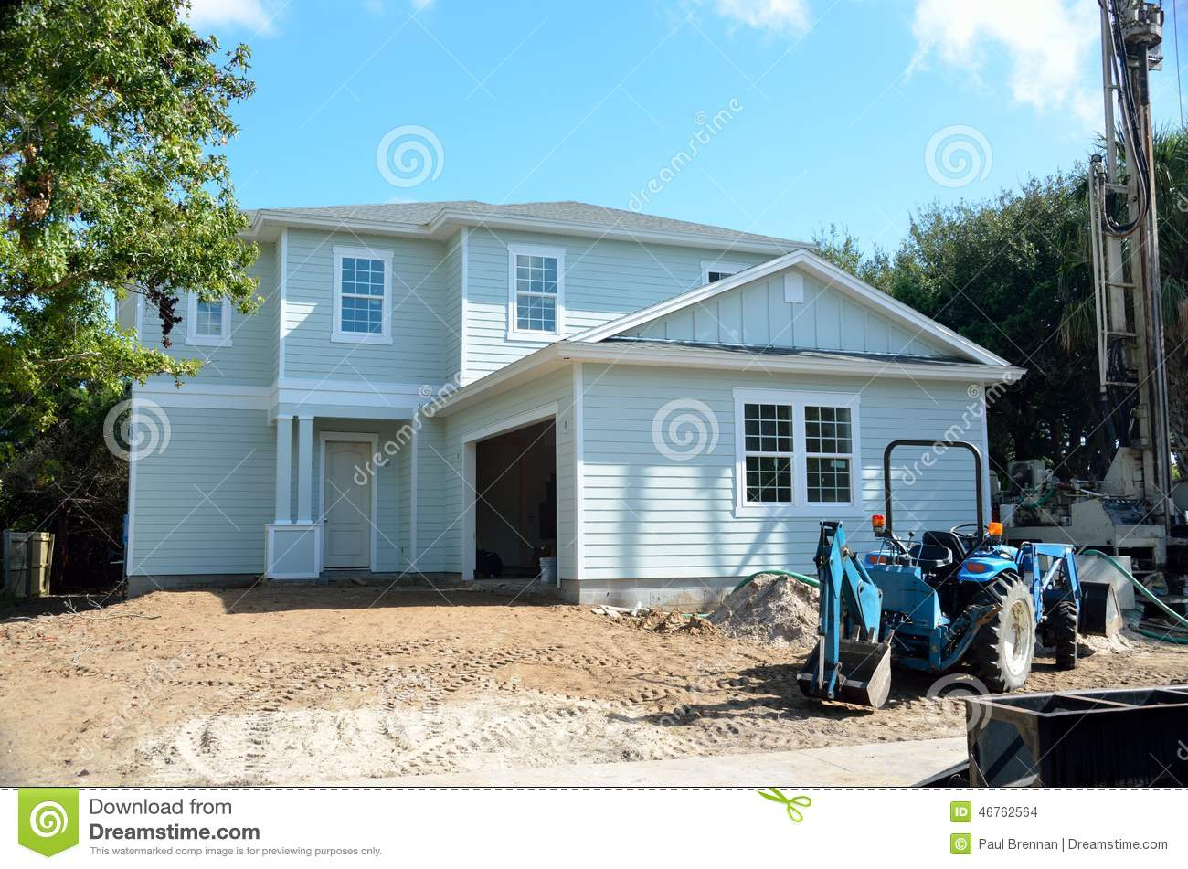 Beach house under construction stock photo image 46762564 for Building a house in florida