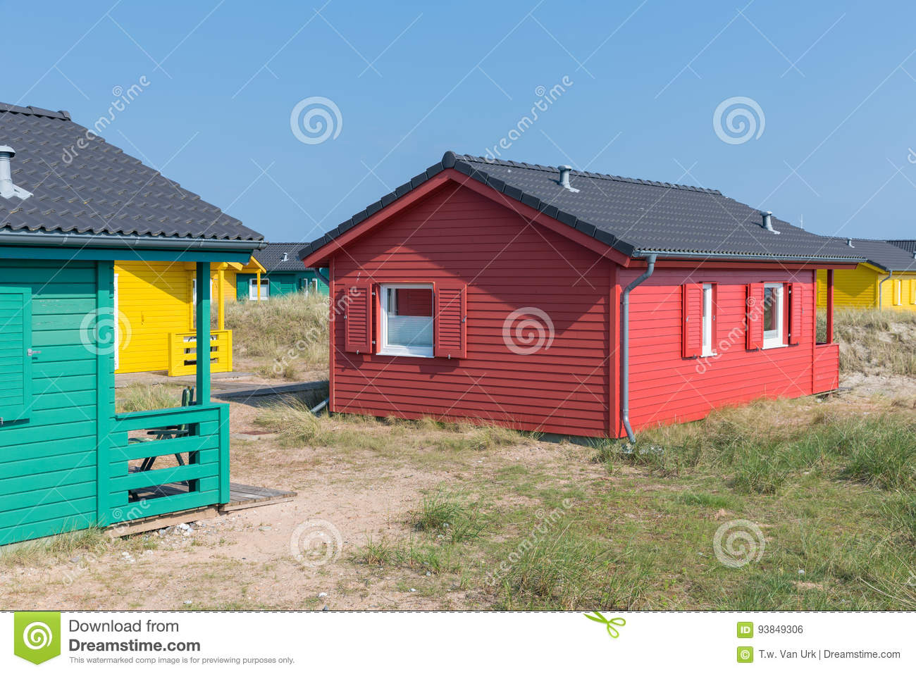 Beach houses at Dune, German island near Helgoland