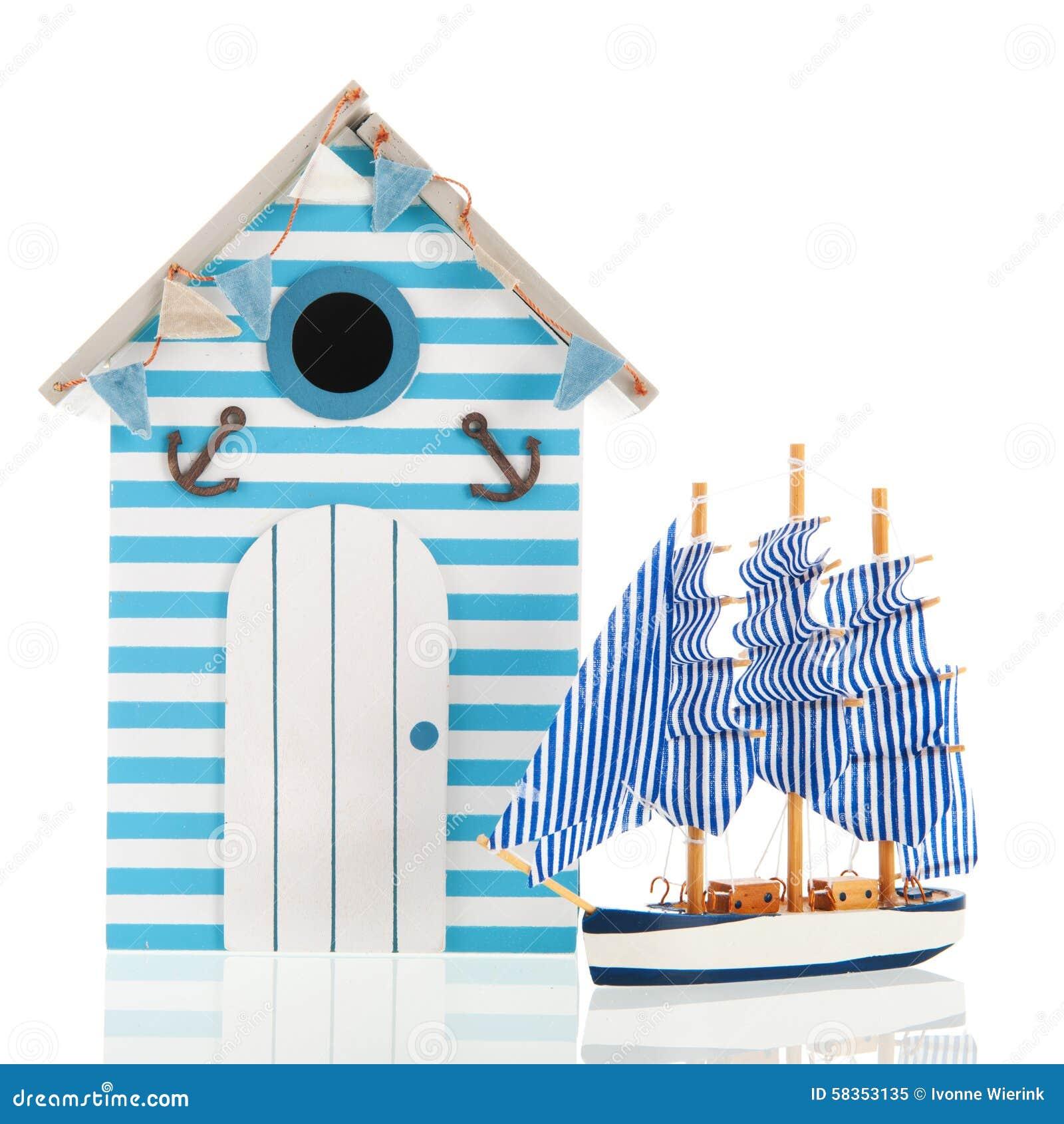 Beach Hut And Boat Stock Photo - Image: 58353135