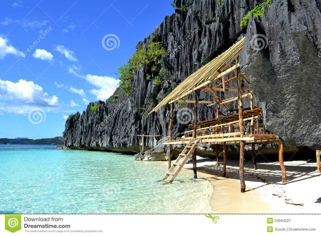 Beach Hut In Coron, Palawan, Philippines Royalty Free Stock ...