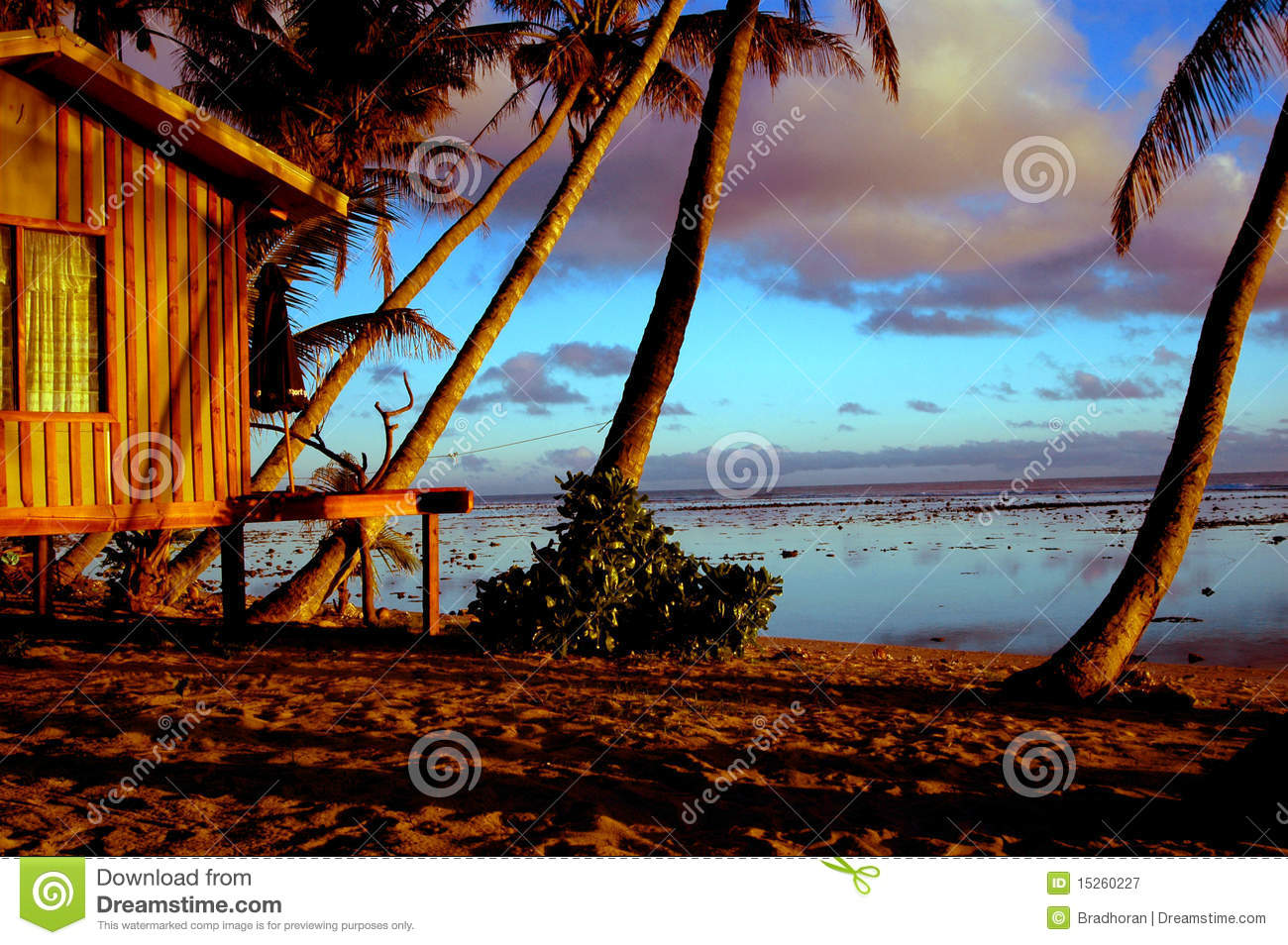 beach hut sunset royalty free stock photography