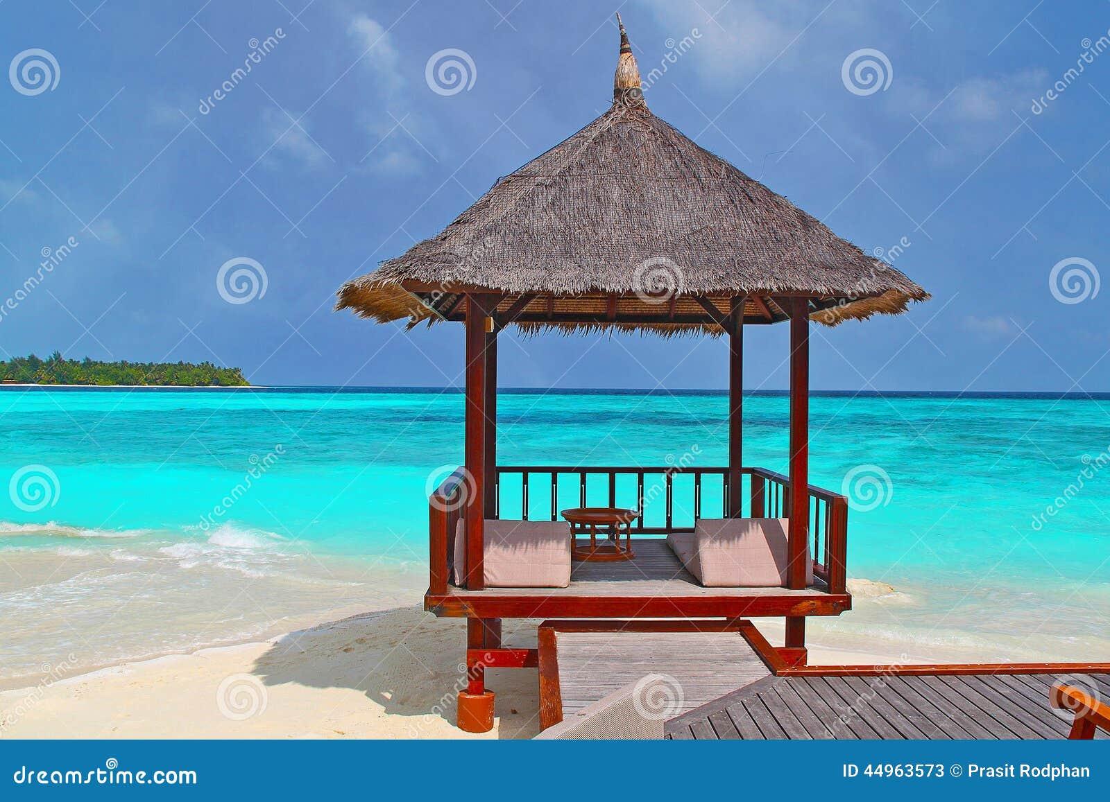 Tropical Beach Huts: A Beach Hut On The Tropical Beach Stock Photo