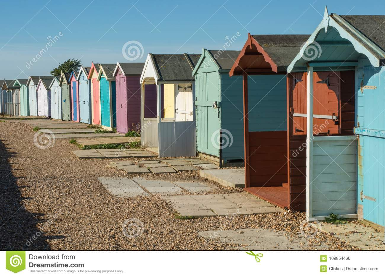 Beach Huts At Ferring West Sussex England Stock Photo Image Of
