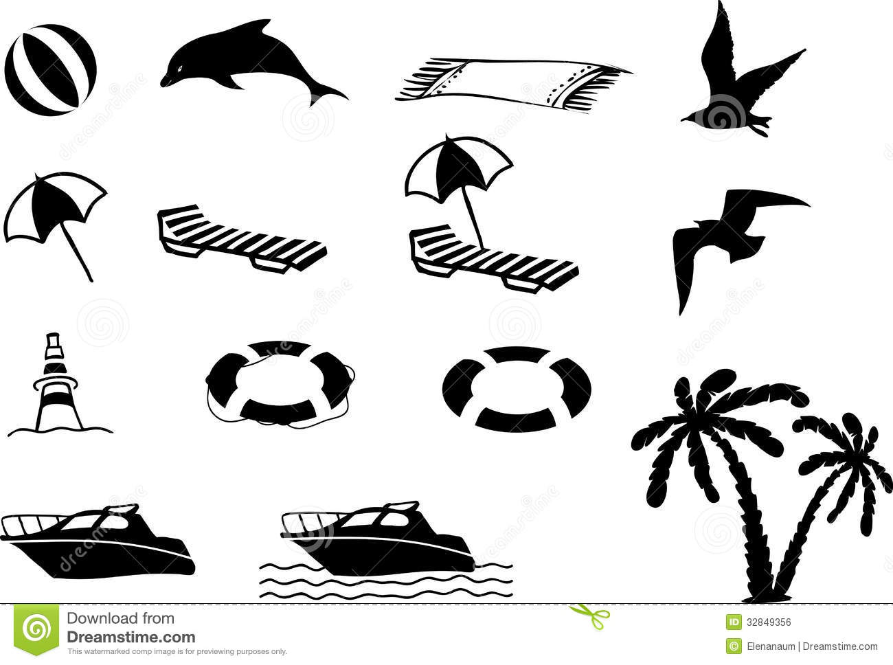 Beach Icon Collection Royalty Free Stock Image Image