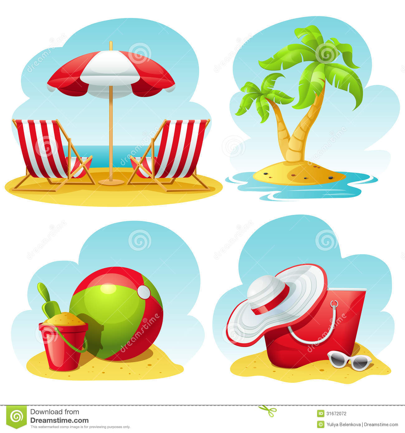 Beach Icon Set Stock Vector Image Of Recliner Travel