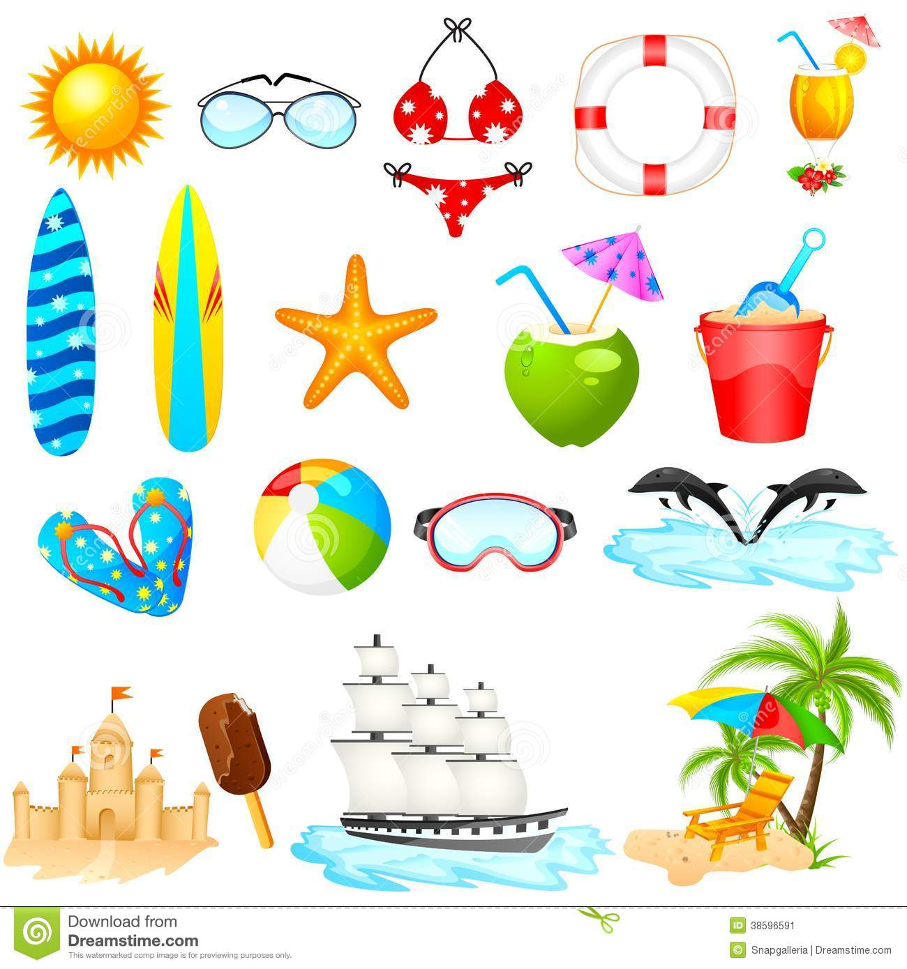 Beach Icon Set stock vector Image of cocktail object