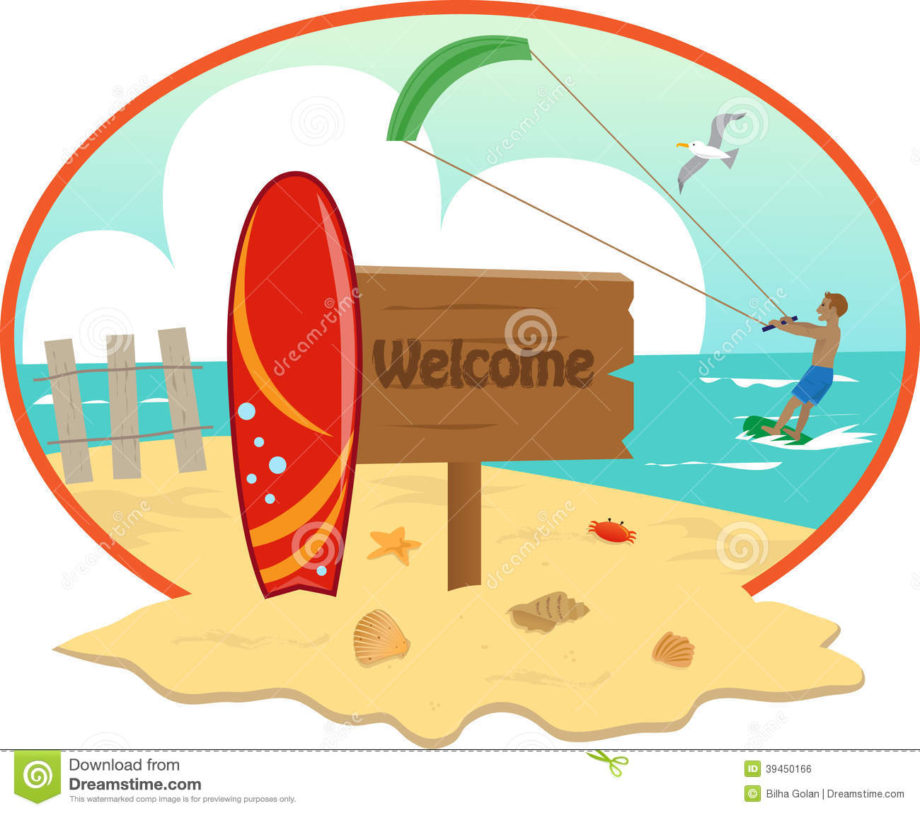 Beach Stock Vector Image Of Surfboard Surfer Crab 39450166