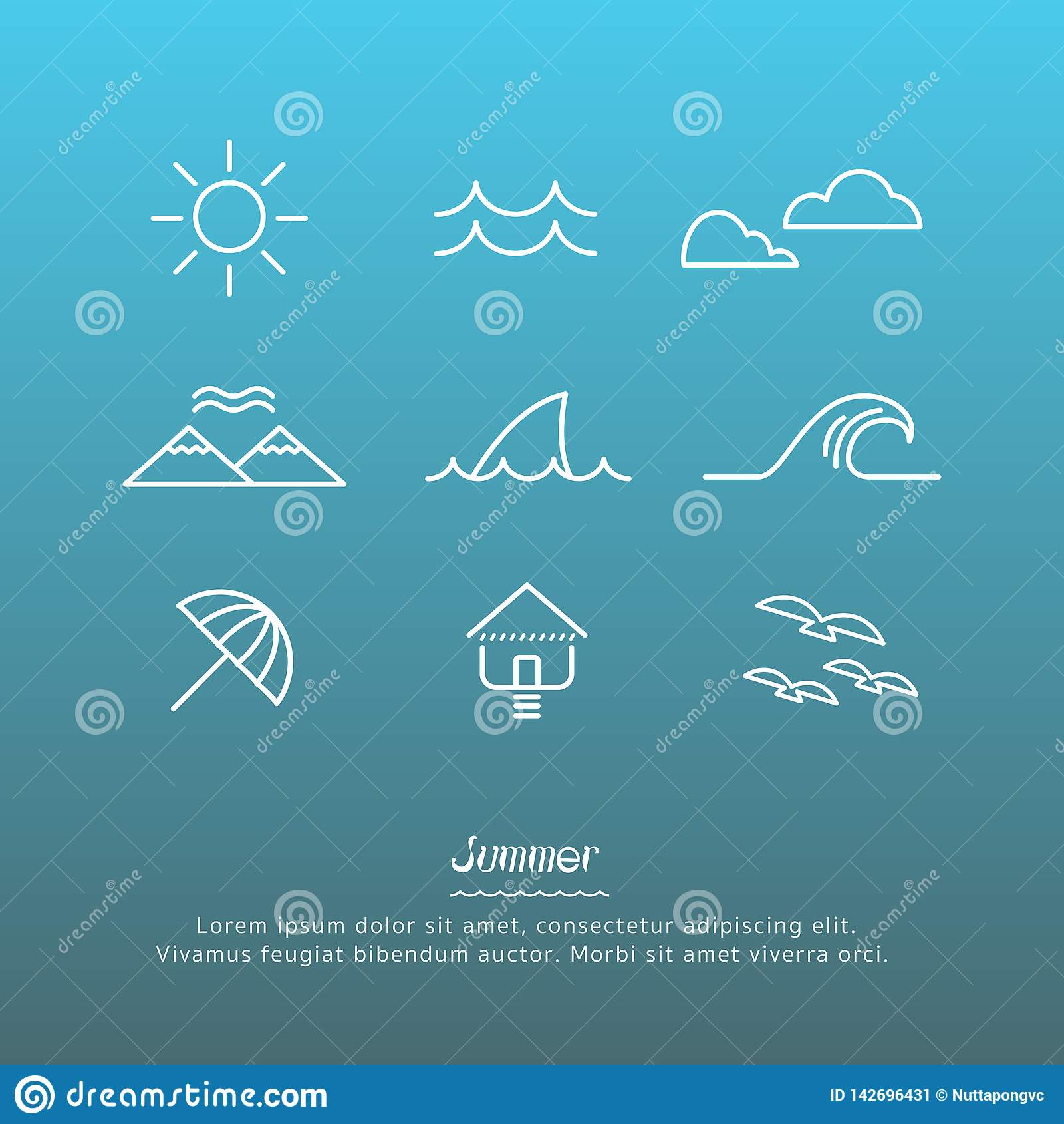 Beach icons design set