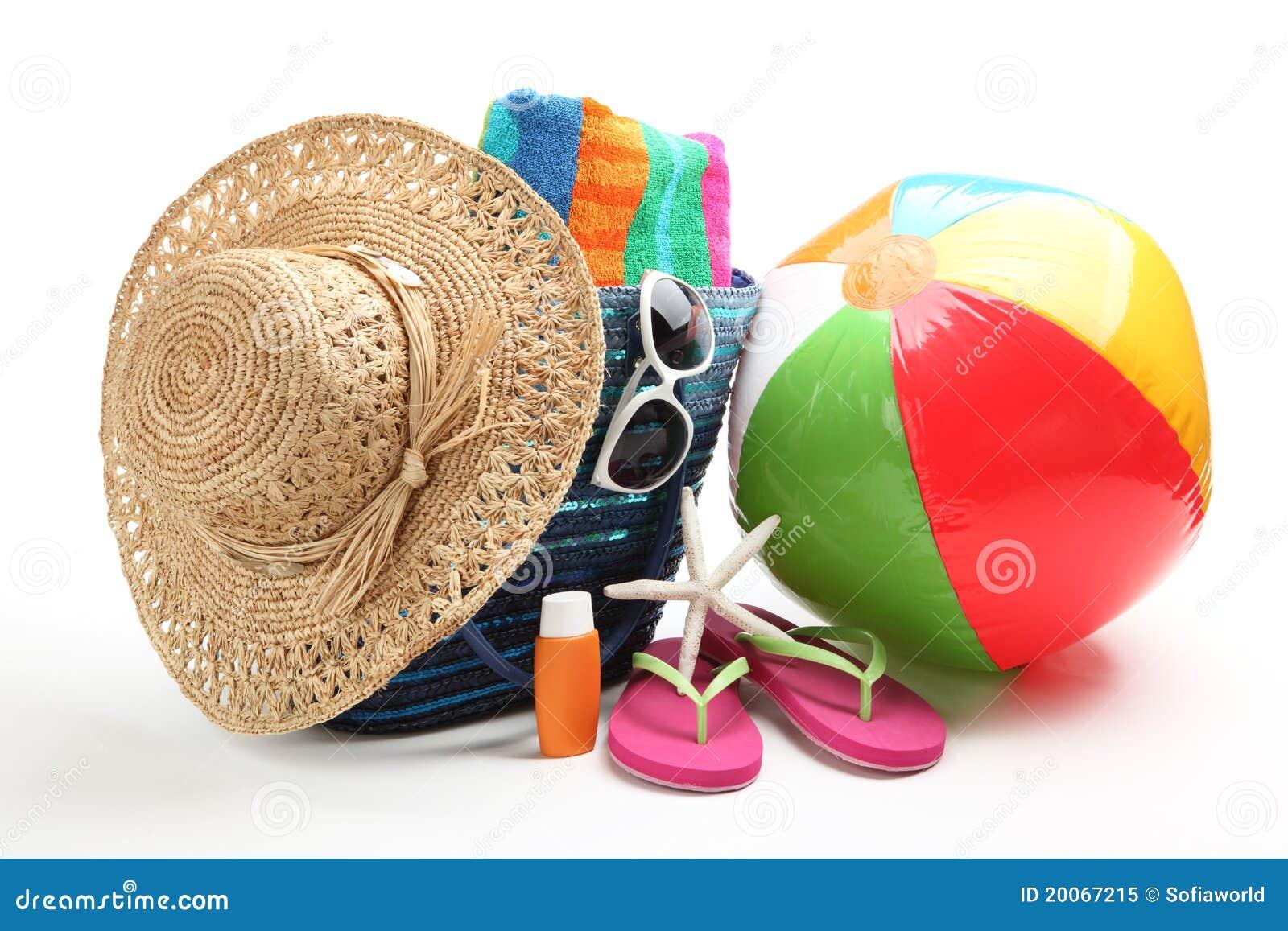 Beach Items Color Umbrella Ball And Lifesaver Stock Photography