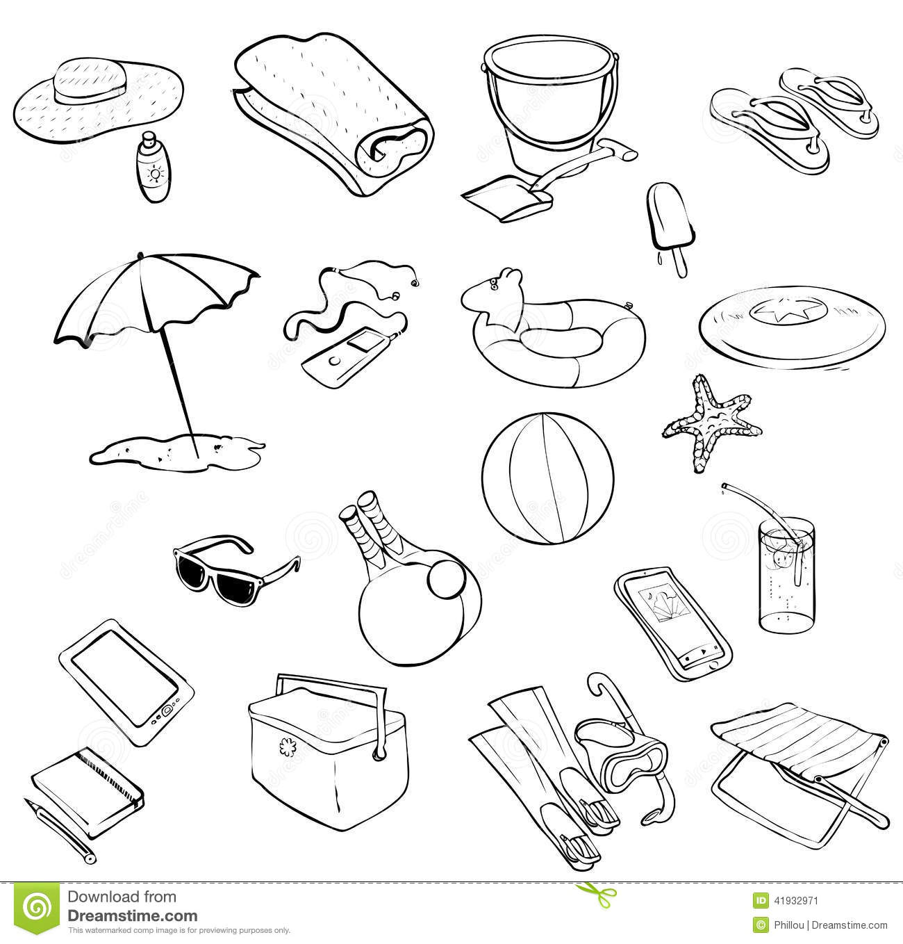 Galerry coloring pages of beach items