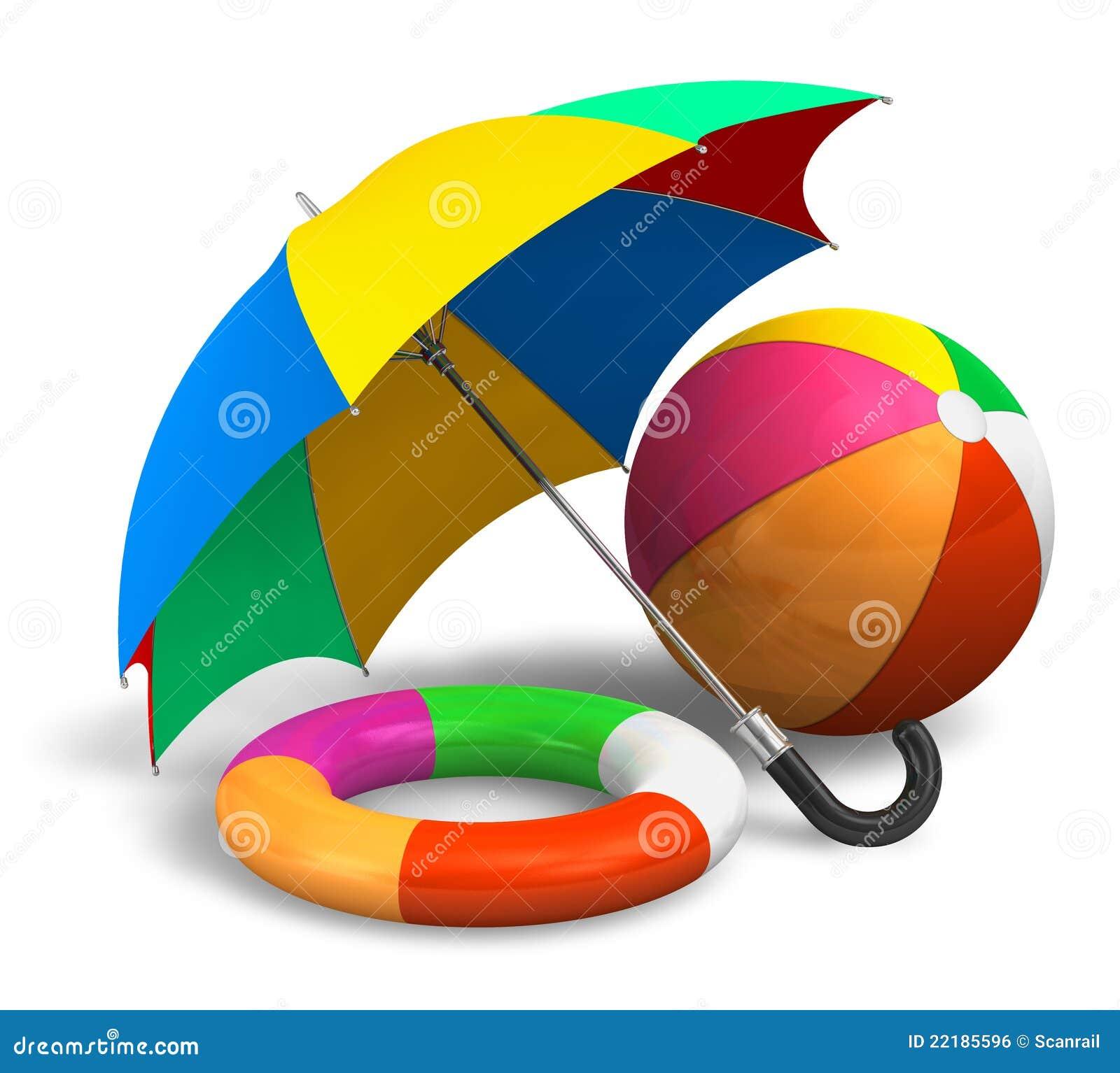 Beach Items: Color Umbrella, Ball And Lifesaver Stock