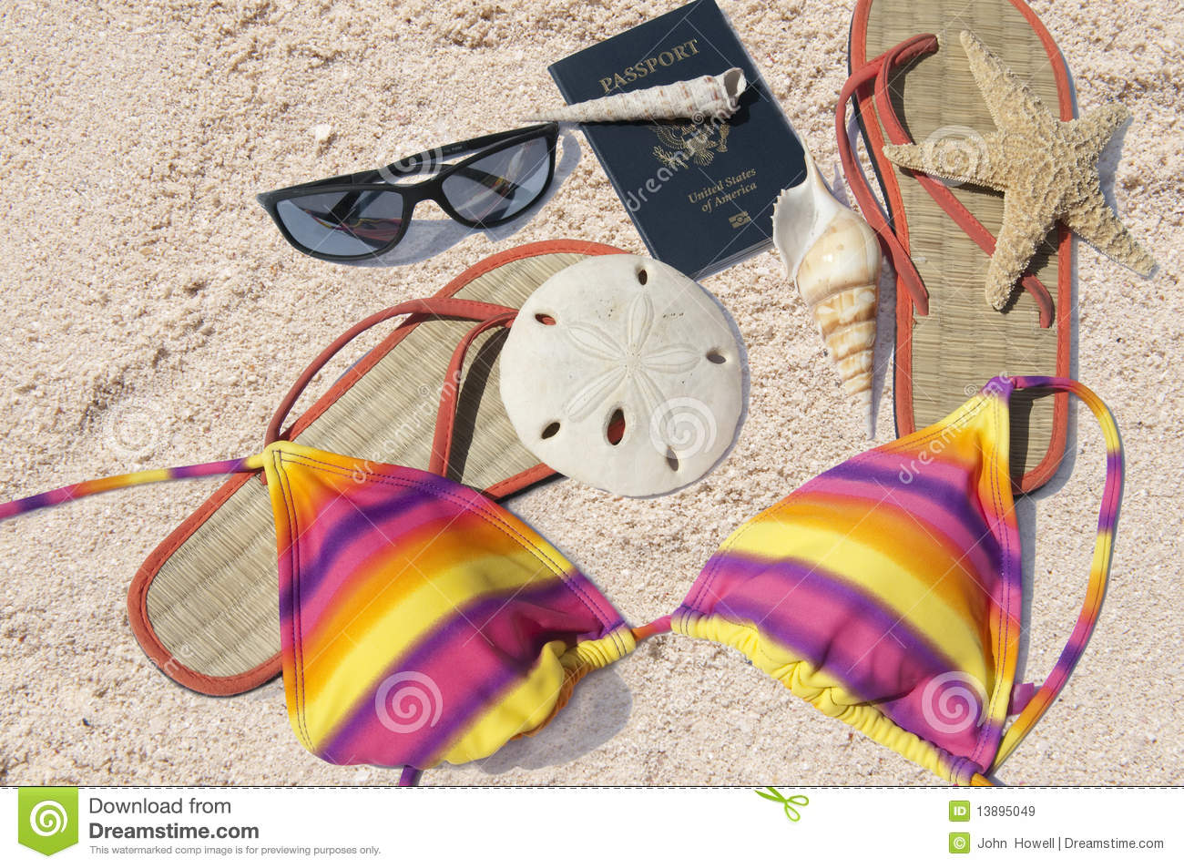 Beach items and passport royalty free stock images image for Bikinis and passports
